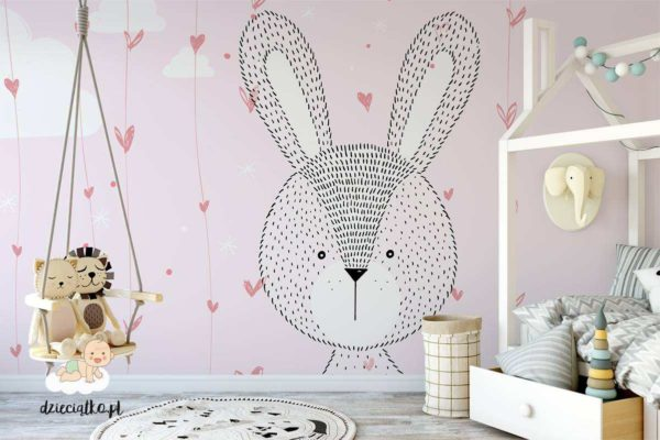 duża głowa uroczego królika na różowym tle - fototapeta dla dzieci