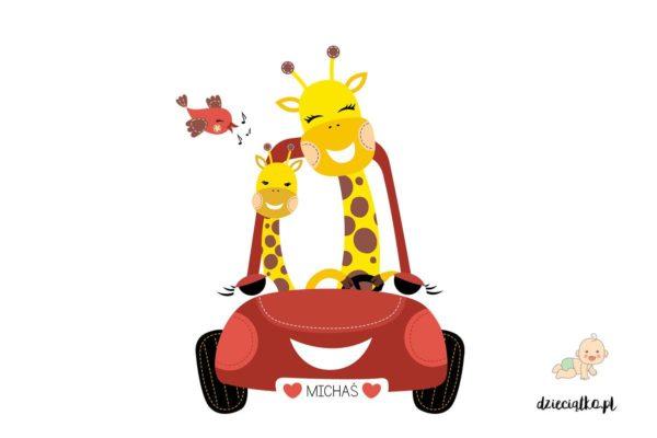 wesołe żyrafy jadą czerwonym samochodem - naklejki do pokoju dziecięcego