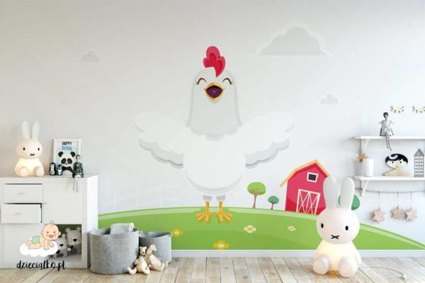 szczęśliwa kurka na farmie - fototapeta dla dzieci