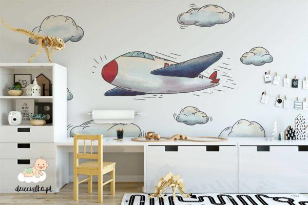 samolot w chmurach - fototapeta dla dzieci