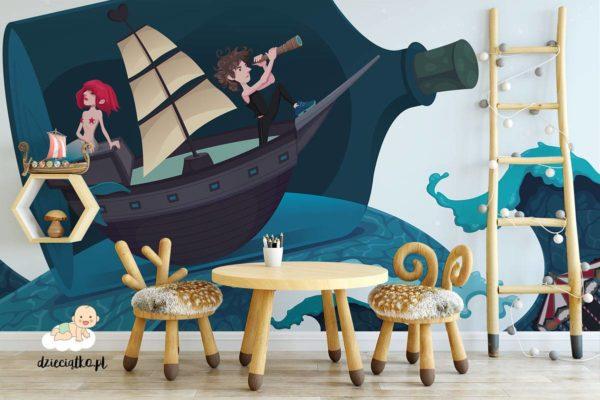syrenka na łodzi w butelce - fototapeta dla dzieci