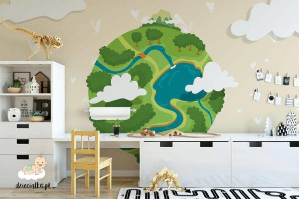 zielona planeta ziemia - fototapeta dla dzieci
