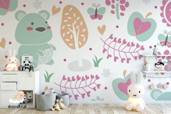 słodki niedźwiadek w kolorowym sadzie - fototapeta dla dzieci