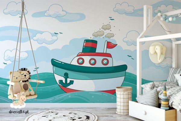 kolorowa łódź parowa wśród fal - fototapeta dla dzieci