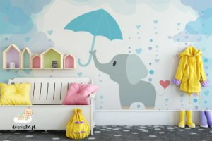 uroczy słonik trzyma parasol w deszczu - fototapeta dla dzieci