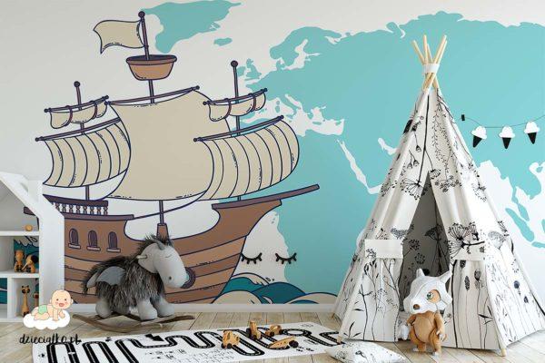 łódź żaglowa płynie na tle mapy świta - fototapeta dla dzieci