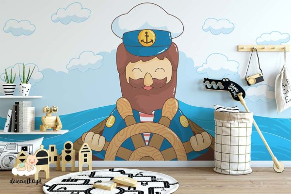marynarz za starem wśród fal - fototapeta dla dzieci