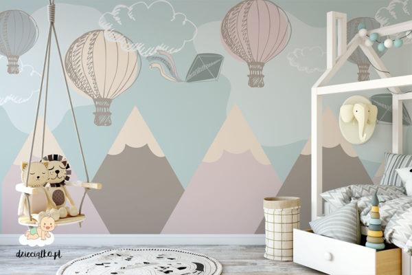 kolorowe balony lecą nad chmurami - fototapeta dla dzieci