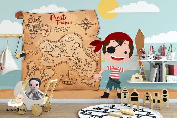 mały pirat na tle mapy skarbów - fototapeta dla dzieci