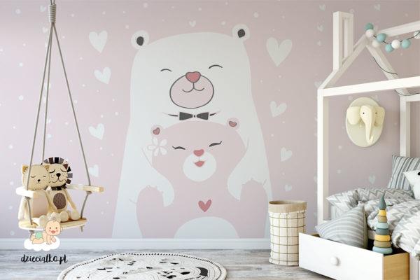 urocze niedźwiedzie wśród serc - fototapeta dla dzieci