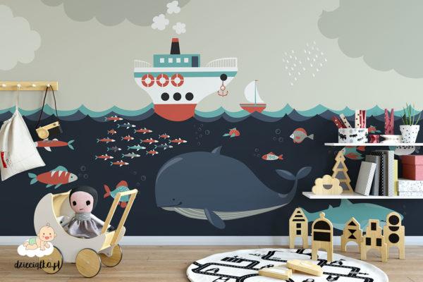podwodna fauna oceanu i statki na falach - fototapeta dla dzieci