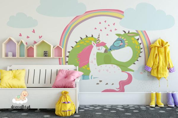 smok i jednorożec pod kolorową tańczą - fototapeta dla dzieci