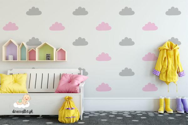 kolorowe chmurki - naklejki do pokoju dziecięcego