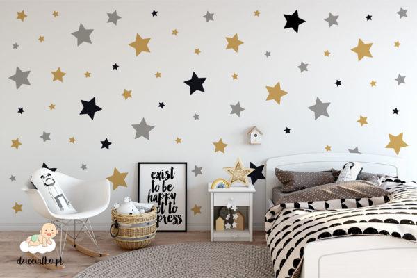 kolorowe gwiazdki - naklejki do pokoju dziecięcego