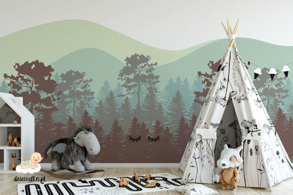 las na tle wzgórz - fototapeta dla dzieci