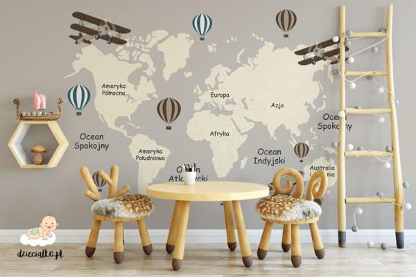 mapa kontynentów na szarym tle - fototapeta dla dzieci