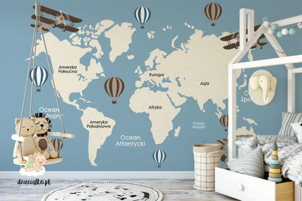 mapa kontynentów na niebieskim tle - fototapeta dla dzieci