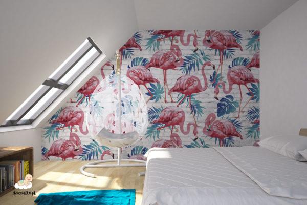 duże różowe flamingi wśród niebieskich liści - fototapeta