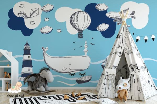 latarnia morska wieloryb łódki balon samolot - fototapeta dla dzieci