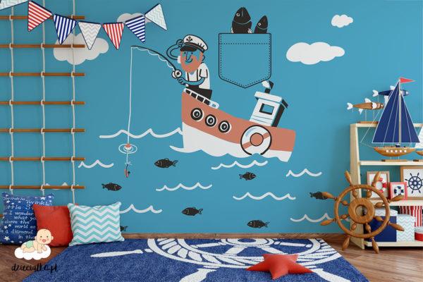 marynarz łowiący z łodzi na błękitnym morzu - fototapeta dla dzieci