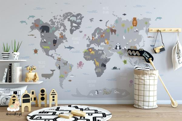 zwierzęta na mapie świata - fototapeta dla dzieci