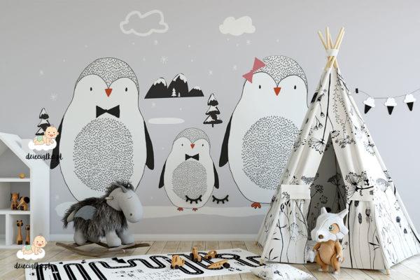 rodzina pingwinów - fototapeta dla dzieci