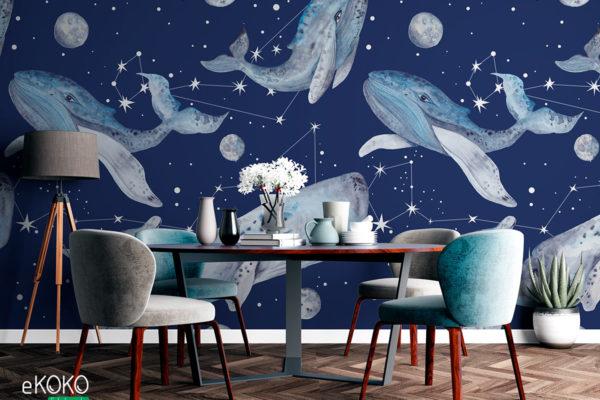 wieloryby na tle gwieździstego nieba - fototapeta