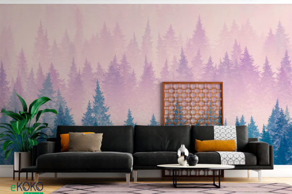 mglisty krajobraz z jodłowym lasem - fototapeta