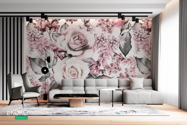 akwarela jasne kwiaty róż - fototapeta