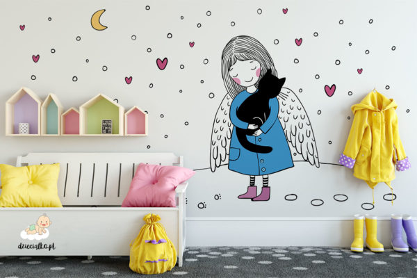 słodki anioł trzyma kota w ramionach - fototapeta dla dzieci