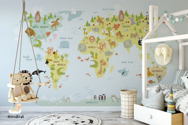 animals on the world map - children's wall mural