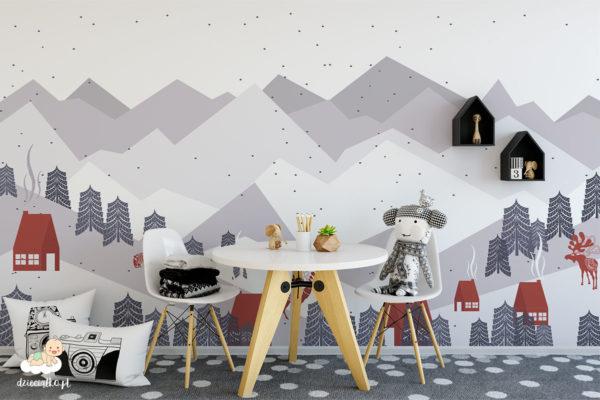 górski krajobraz zimą - fototapeta dla dzieci