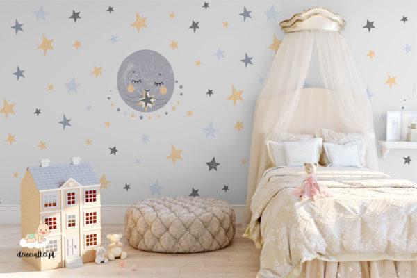 kolorowy księżyc i gwiazdy na jasnym tle - fototapeta dla dzieci