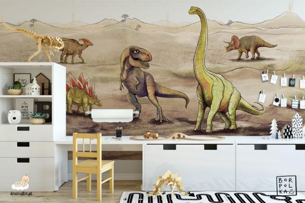 dinozaury w wulkanicznym krajobrazie - fototapeta dla dzieci