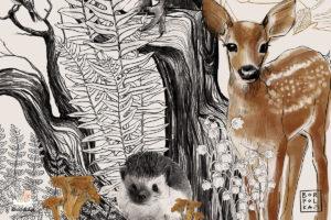 różne zwierzęta na drzewie - fototapeta dla dzieci