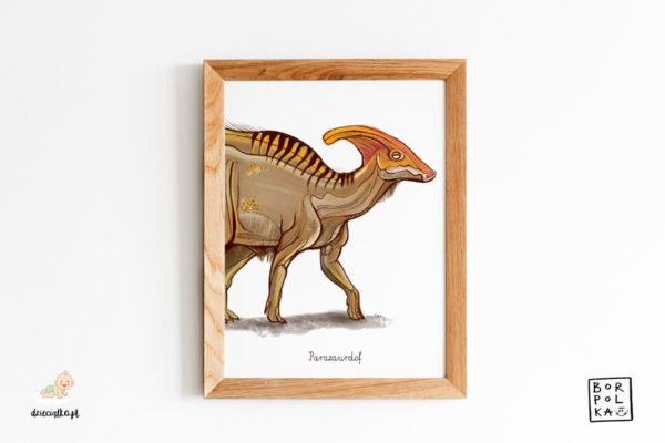 narysowany parazaurolof – artystyczny plakat