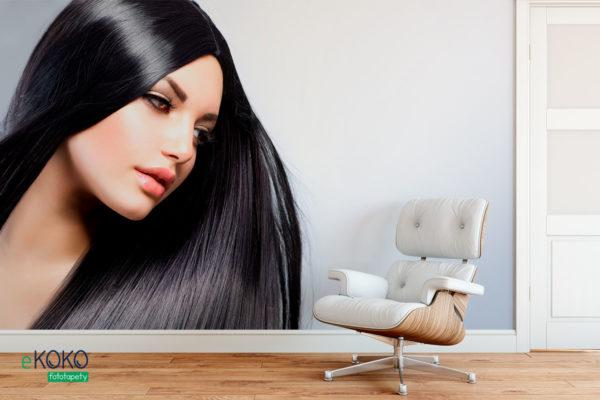 kobieta o długich prostych czarnych włosach - fototapeta do salonu fryzjerskiego, kosmetycznego