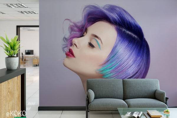 kobieta o krótkich jaskrawych włosach - fototapeta do salonu fryzjerskiego, kosmetycznego