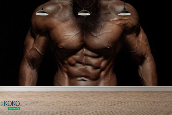 muskularny męski tors na czarnym tle - fototapeta do siłowni, klubu fitness