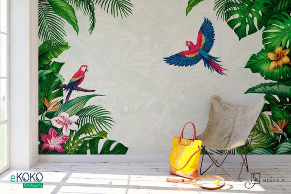 tropikalna zieleń i papugi z jasnym tłem – fototapeta