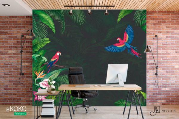 tropikalna zieleń i papugi z zielonym tłem – fototapeta