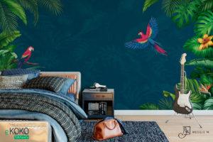 tropikalna zieleń i papugi z niebieskim tłem – fototapeta