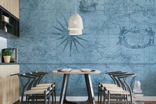 błękitna mapa żeglarska - fototapeta
