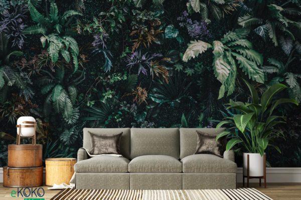 dywan tropikalnych zielonych liści - fototapeta