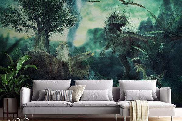 dinozaury w zielonej scenerii - fototapeta