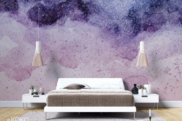 abstrakcyjna fioletowo-różowa gwiezdna akwarela - fototapeta