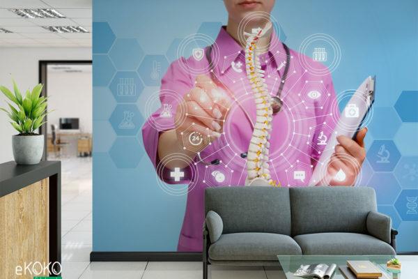 lekarka pracuje z modelem kręgosłupa - fototapeta do gabinetu medycznego