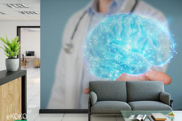 cyfrowy obraz mózgu nad ręką lekarza w fartuchu- fototapeta do gabinetu medycznego