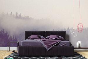 mgliste szare zalesione wzgórza jesienią - fototapeta