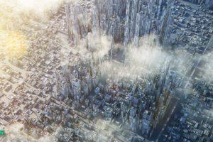 widok z lotu ptaka na nowoczesne centrum biurowe - fototapeta